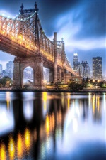 Queensboro Bridge, Manhattan, as luzes da noite da cidade iPhone Wallpaper