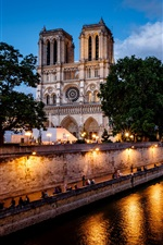 Paris, França, Notre Dame de Paris, rio, luzes iPhone Wallpaper