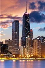 Chicago, EUA, beira-mar, casa, noite, luzes iPhone Wallpaper