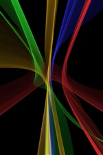 Linhas abstratas fractal, fundo preto iPhone Wallpaper